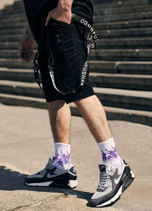 Мужские шорты карго чёрные с карабинами