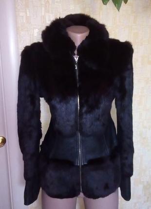 Полушубок из натурального меха и кожи/кожаная куртка/полушубок...