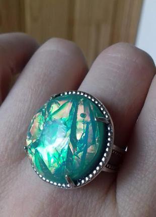 Серебряное  кольцо с опалом 18
