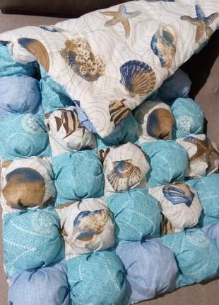 Детское одеяло покрывало бомбон 60*120 см морское ручная работа