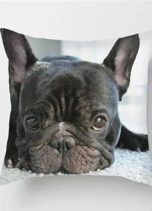 Декоративная наволочка расцветка французский бульдог декор собака
