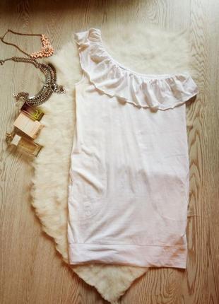 Белая туника платье с воланами карманами рюшами сверху на одно...