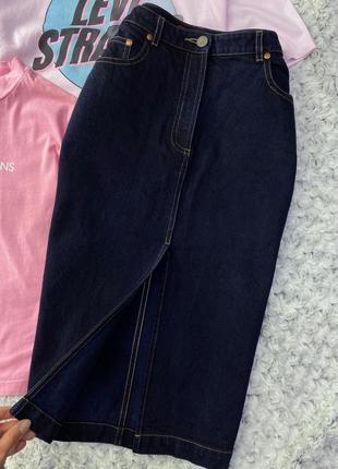 Джинсовая юбка миди с распоркой fcuk