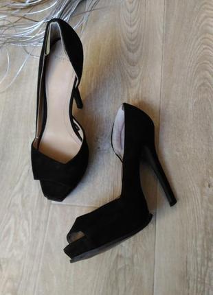 Туфли, босоножки zara, чёрного цвета, размер 39- 40