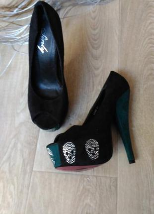 Туфли чёрные sinly под замш, размер 37
