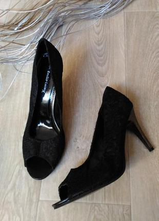 Туфли, босоножки чёрные, ажурное, р.40