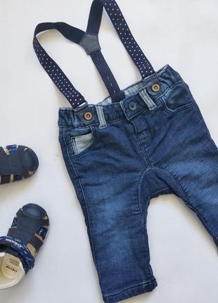 Джинсы на маленького модника с подтяжками
