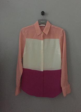 Блуза chloe , шёлк 100% . оригинал . розовый крем малиновый