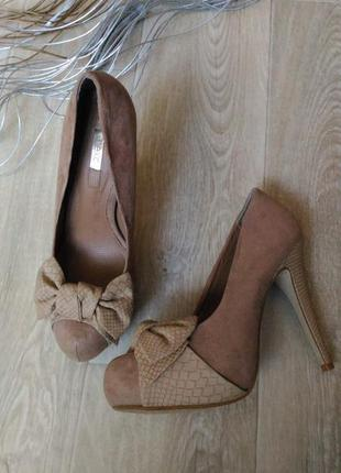 Тёмно-бежевые туфли, под замш, размер 40
