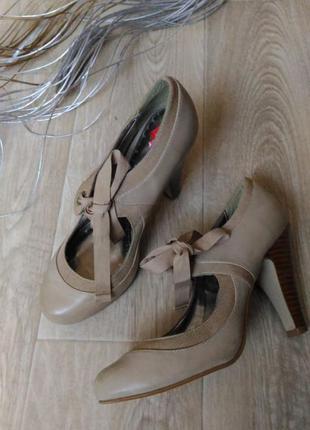 Туфли бежевого , пудрового цвета, натуральная кожа, размер 40