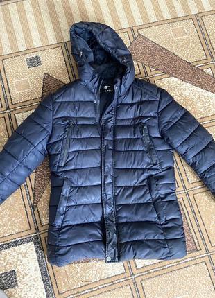 Темно-синяя мужская зимняя очень тёплая плотная парка пуховик