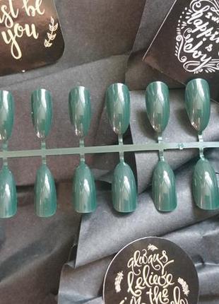 Накладные ногти изумрудного цвета 24 шт