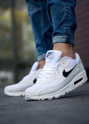 Отличные мужские кроссовки nike air max 90 essential белые