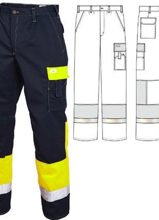 Брюки рабочие летние мужские сигнальные сине-желтые 2131