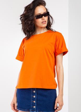 Свободная трикотажная футболка оранжевого цвета