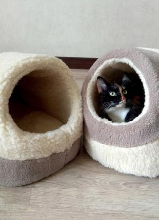 Меховый очень теплый домик лежак для кошек котов собак от произво