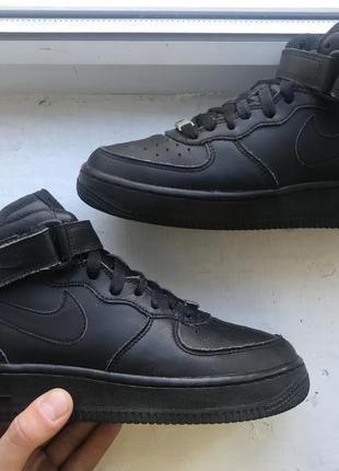 Черные кожаные nike air force 1 38p оригинал