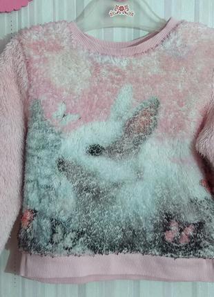 Розовая меховая толстовка HM с кроликом р. 1,5-2 года