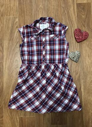 Крутое платье в клетку h&m 7-8 лет