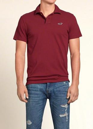 Бордовая мужская футболка - поло hollister made in vietnam