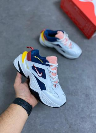 Женские кроссовки nike m2k white/blue/pink | наложенный платёж