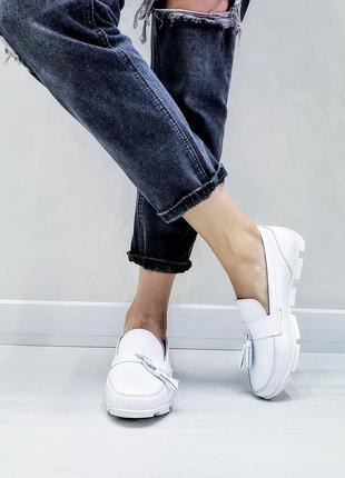 Белые мокасины туфли балетки лоферы р36-41 кожаные  білі мокас...