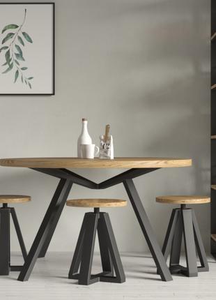 """Круглий обідній стіл в стилі Лофт з натурального дерева """"Нікс"""""""