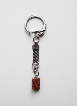 Брелок для ключей с декоративным камнем-талисманом (амулет), б/у