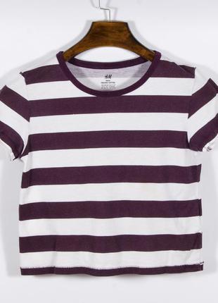 Короткая футболка женская, укороченная футболка полосатая, фут...