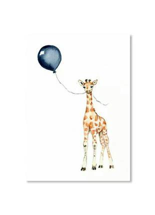 Картина плакат для декора стен в детской жираф печать на холст...