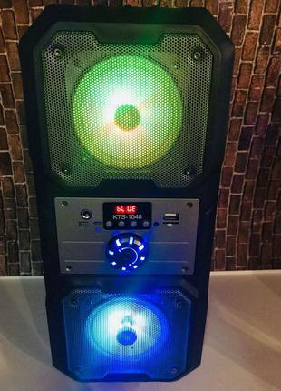 Портативная Bluetooth колонка KTS-1048 с яркой подсветкой