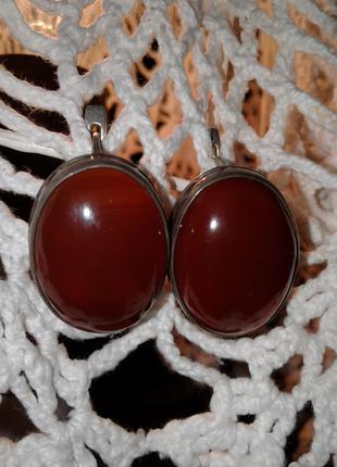 Серебрянные серьги с сердоликом