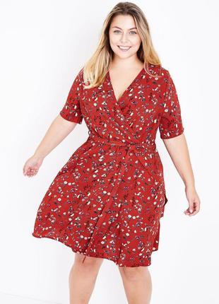 Актуальное легкое  платье plus size с имитацией запах new look