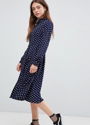 Платье рубашка на пуговицах в горох миди