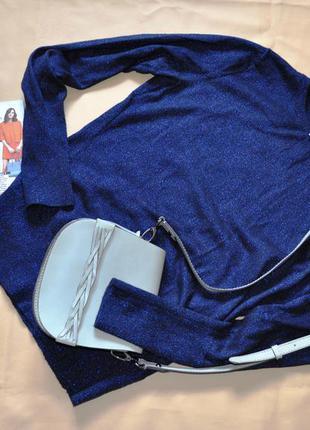 Стильный свитер кофта джемпер синий люрекс