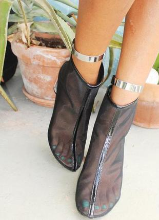 Зеркальные браслеты на ноги золото серебро (все размеры)