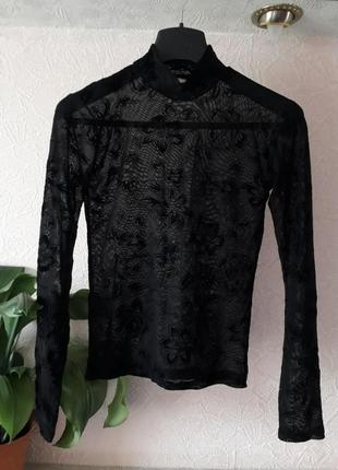 Женская черная полупрозрачная блузка кофта в принт цветы