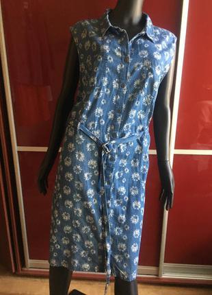Котоновое платье халат в цветочный принт