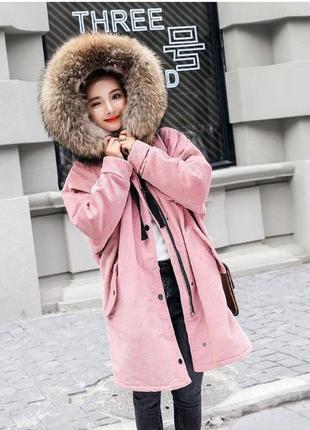 Вельветовая парка куртка с капюшоном средняя длина