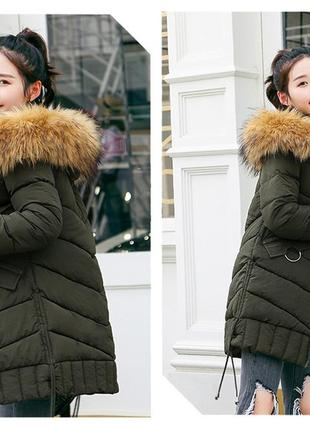 Модная куртка пуховик средней длинны молодежный стиль