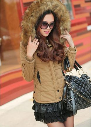 Стильная куртка с вязанной спиной демисезон - теплая зима хлопок
