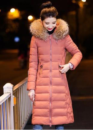 Удлиненная куртка пуховик зимнее пальто с капюшоном