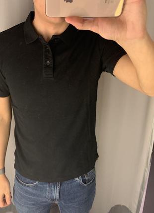 Чёрная хлопковая футболка поло smog есть размеры