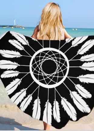 Парео круглый пляжный коврик ловец снов черный с бахромой