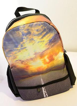 Стильный модный рюкзак принт молнии закат