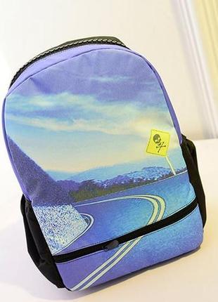 Яркий модный рюкзак принт молнии