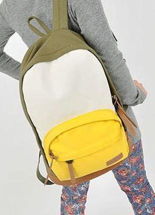 Аккуратный рюкзак контрастные карманы холст