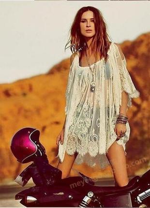 Модная пляжная туника кружево