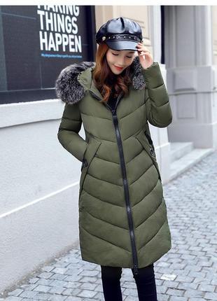 Теплая стильная куртка пуховик удлиненная