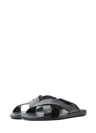 Мужские кожаные шлепанцы с замшевыми вставками